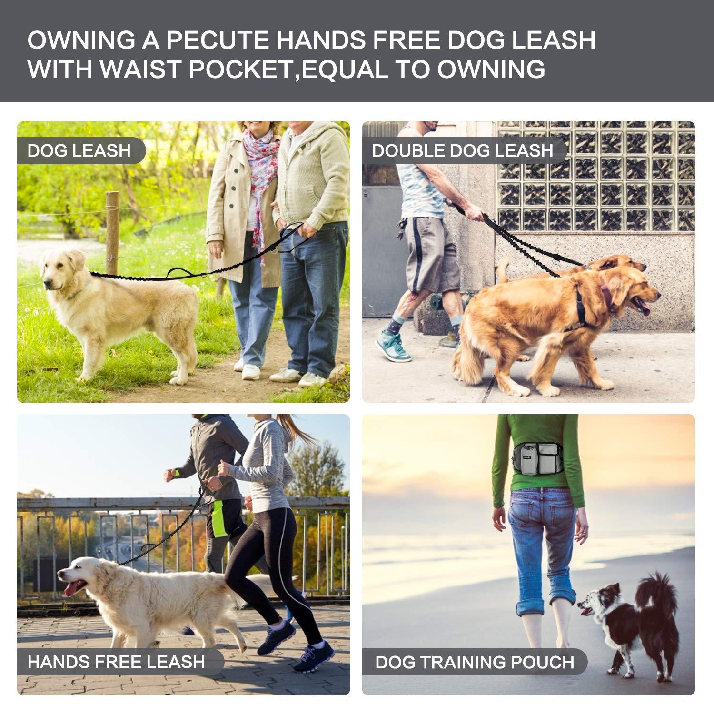 Pecute Guinzaglio per Cani Guinzaglio Mani Libere per Animali Domestici con Tasca della Vita