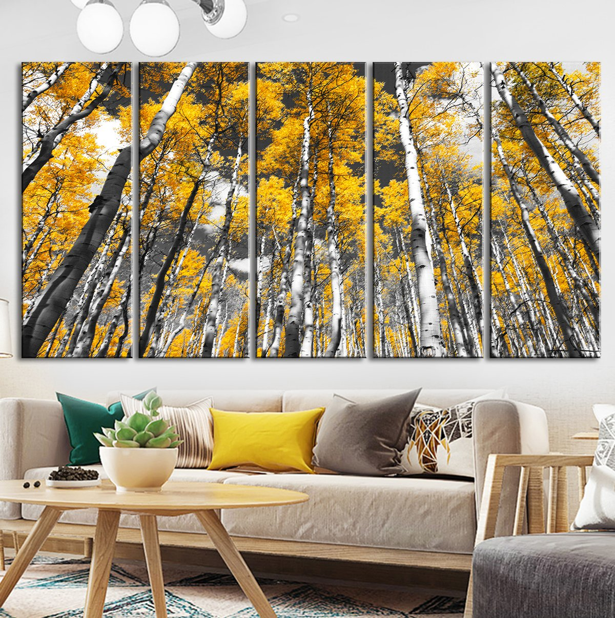 Large Wall Art Yellow Forest Trees Canvas Prints Black And White Oil Paintings Decor Frame Printing