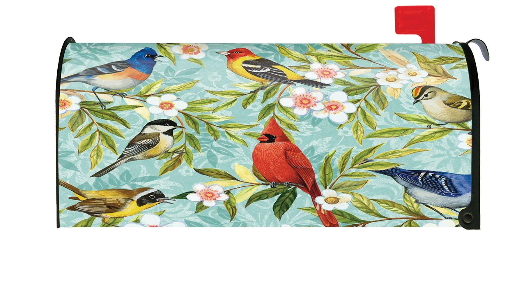 Toland Home Garden 310038 Bird Collage Colorful Spring Flower Cardinal Jay Magnetic Mailbox Cover