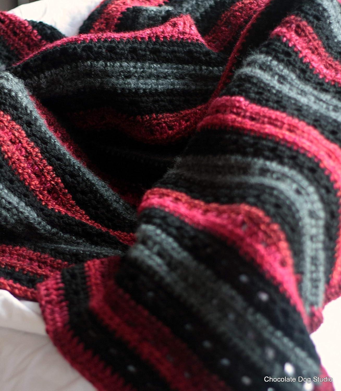 Amazon Crochet Afghan Blanket Throw Red Black Grey Throw