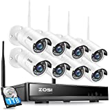 ZOSI 8CH 1080P Wireless Security Cameras System With 1TB Hard Drive,H.265+ 8Channel 1080P NVR and 8PCS 1080P 2.0MP Weatherpro