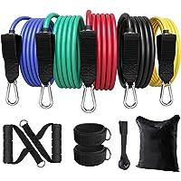 Ozvavzk Weerstandsbanden 100lbs Weerstandsbandenset-Fitness Spiervergrotende Elastiekjes met 5 Fitnessbanden,Handgrepen…