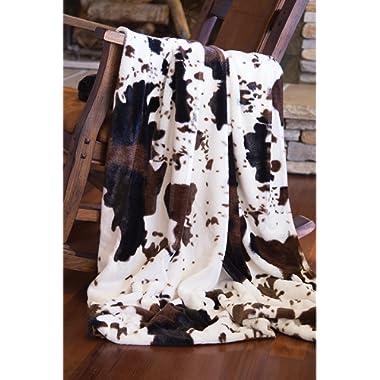 North End Décor Faux Fur Cowhide Plush Throw Blanket