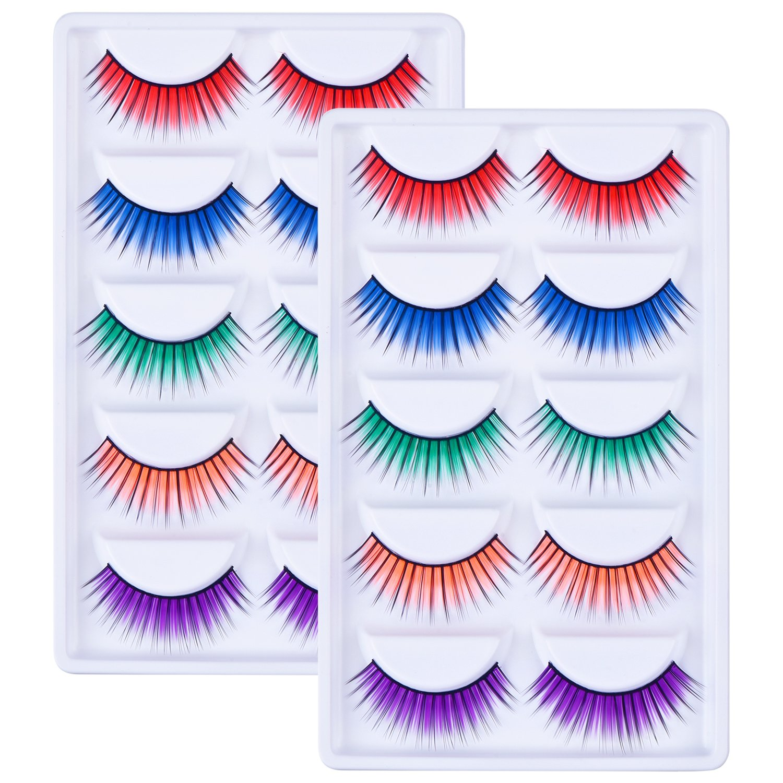 10 Paires 3D Faux Cils Coloré False Eyelashes Assorti Maquillage d'Extension Cils