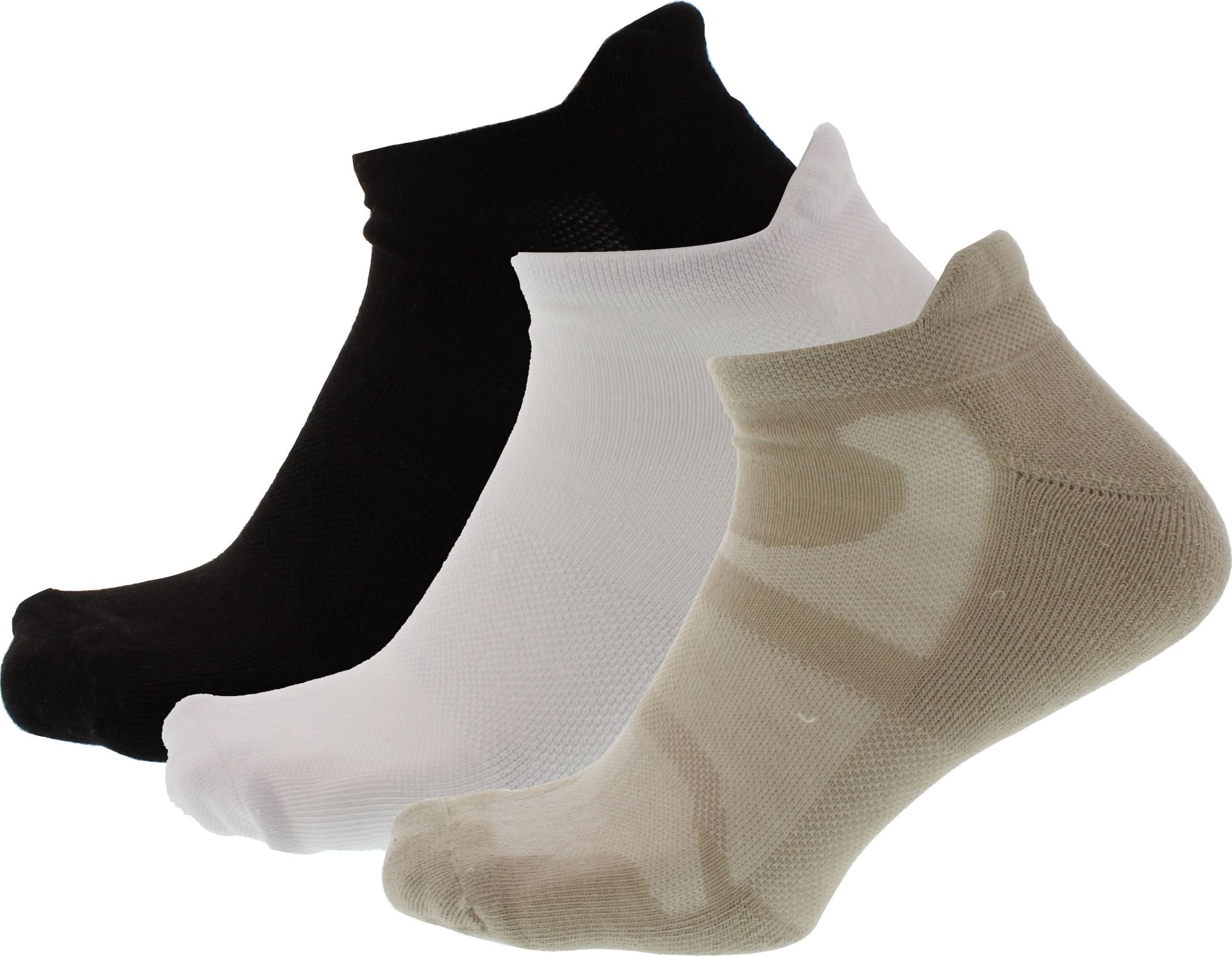 Walter Hagen Men's Sport Cut Tab Golf Socks 3 Pack - Black/White/Khaki, L