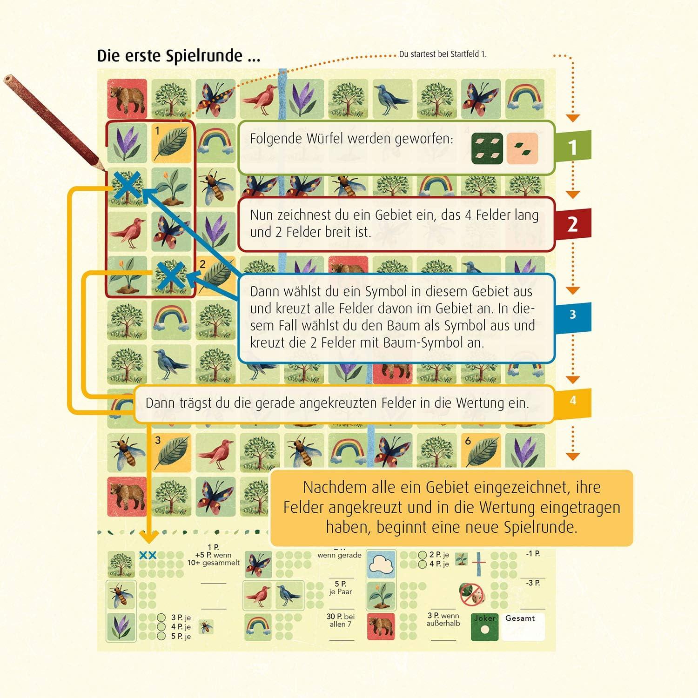 Jahreszeiten im Wald KOSMOS 680435 Blätterrauschen für 2 Roll /& Write Spiel