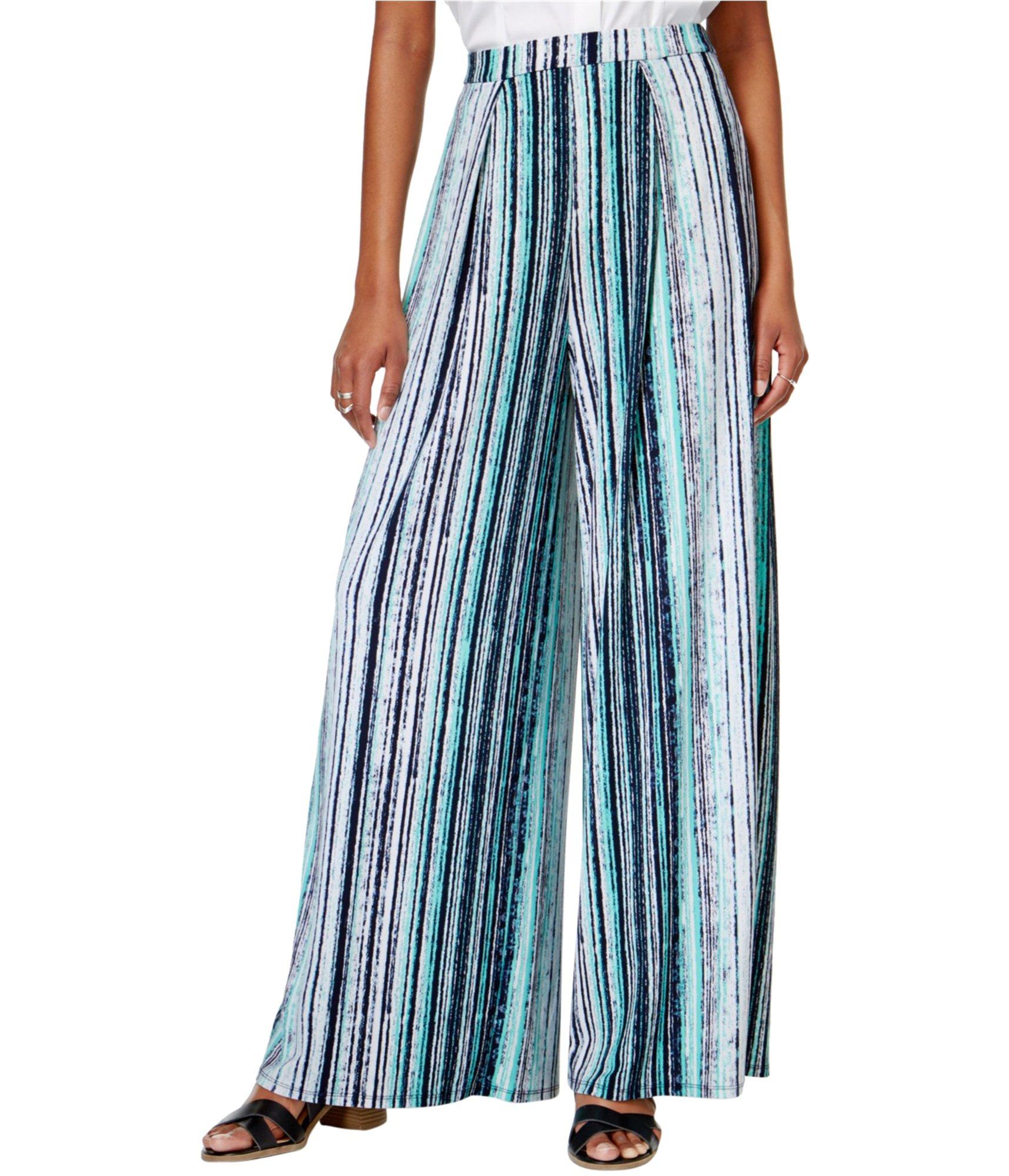 Bar III Women's Varigated Scatter Striped Wide Leg Pants (Cobalt Glaze, Large)