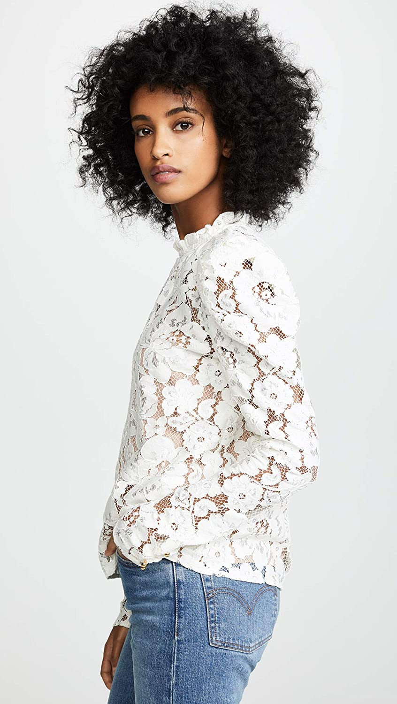 6d743da0aa5117 WAYF Women's Emma Puff Sleeve Lace Top at Amazon Women's Clothing store: