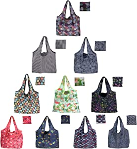 10 Pack Reusable Grocery Bags Ripstop Nylon Reusable Produce Bags Reusable Shopping Bags Reusable Foldable Shopping Bags Expandable ECO Tote Bags (Color C)