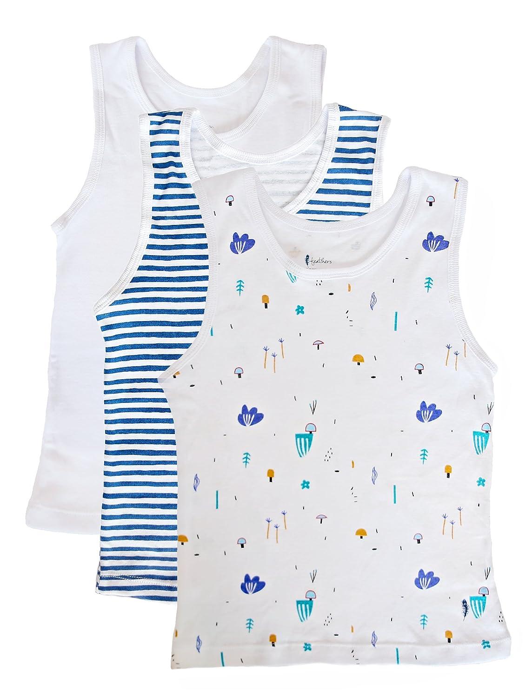 Feathers Boys Botany Print set Tank 100% cotton super soft Tagless Undershirts 3-Pack
