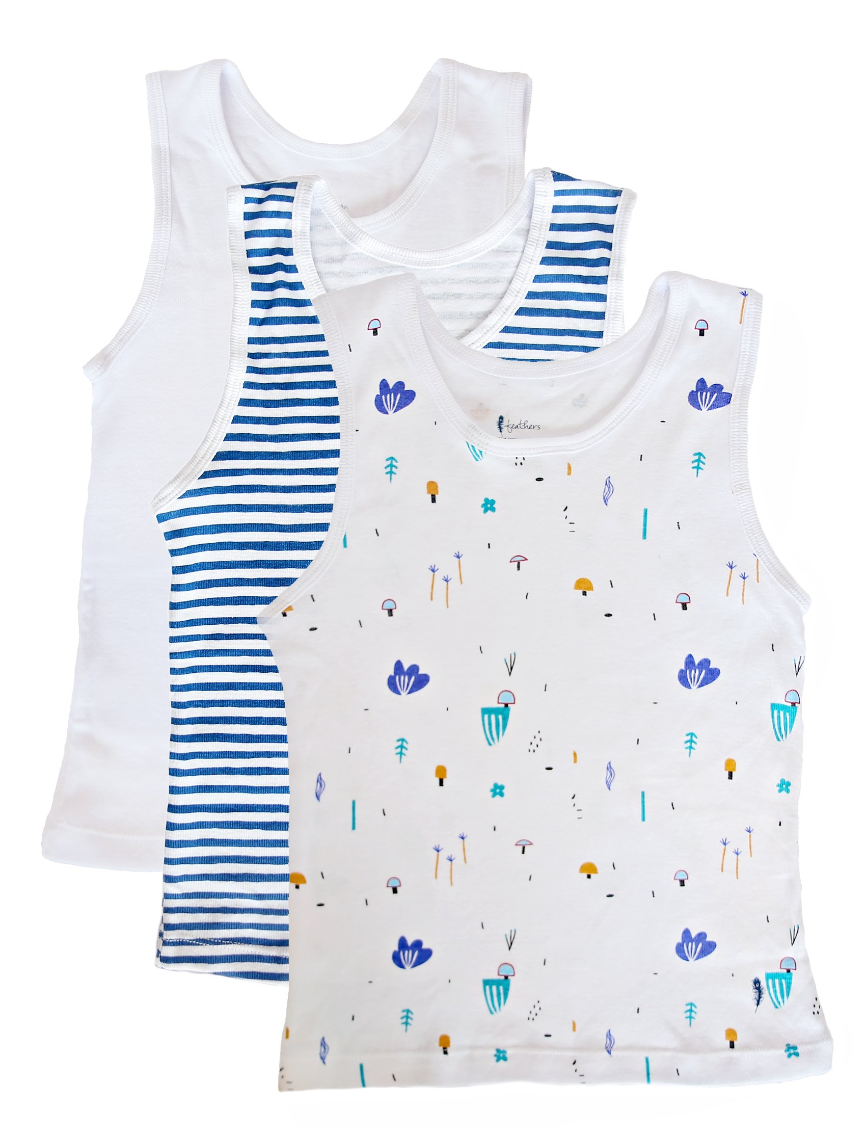 78f72c6fe989e0 Feathers Boys Botany Print set Tank 100% cotton super soft Tagless  Undershirts 3-Pack