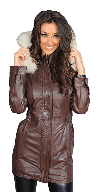 Ladies Fitted Parka Real Leather Coat With Detachable Fur Hood