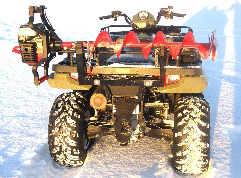 Digger Ice Auger Mount For Atv Snowmobile Utv Fits Metal Rack Bumper Polaris Composite Rack