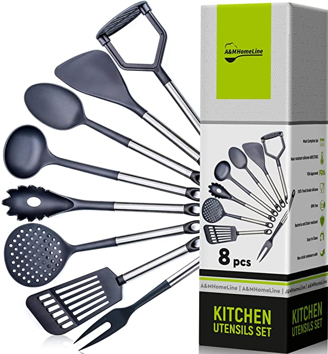 A&M HomeLine - Cooking Utensils - Kitchen Utensil Set for Nonstick Cookware Non Scratch Heat Resistant Gadget Spatula, Potato Masher, Spaghetti Server, Fork, Spoon, Turners, Ladle, Skimmer Tools