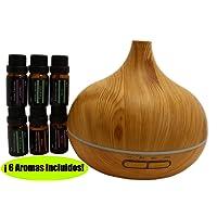 300ml Humidificador/Aroma Difusor de Aceite Esencial, 6 Aromas, 7 Luces LED Cambiantes, 3 Ajustes de Hora, Apagado Auto