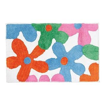 Coloré Fleurs Tapis, Tapis : 50 x 80 cm. Coloris : Orange, Rose ...