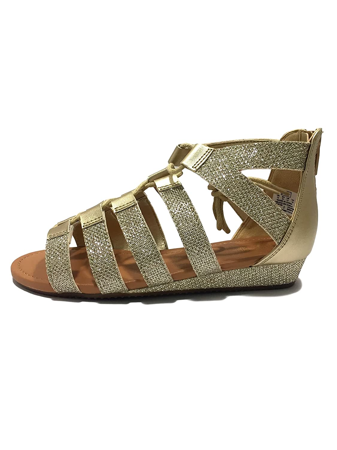 Girls Kids Childrens Gold Strappy Faux Leather Summer Holiday Gladiator Diamante Sandals Beach Zip Lace Up Shoes Footwear Size 10-5