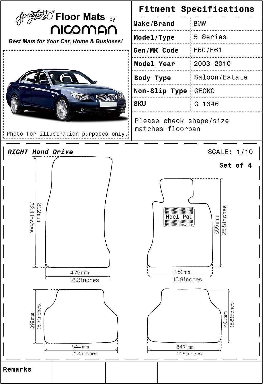 Nicoman Spaghetti All-Weather Fully Tailored Car mats Fit【5-Series Saloon//Estate E60//E61 Year 2003-2010】 Full Set 4-Piece,Black