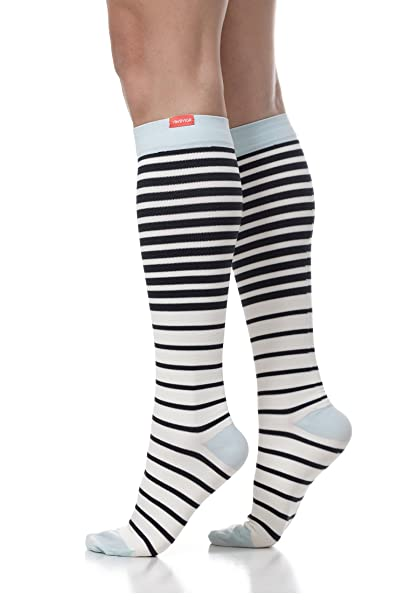 8683949bdd VIM & VIGR Women's 15-20 mmHg Compression Socks: Nautical Stripes - Blue &