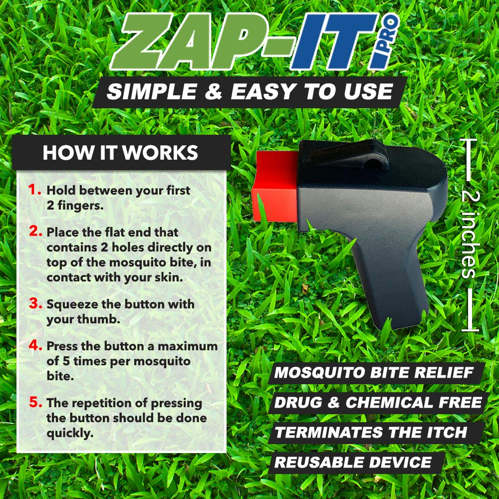 Zap It Mosquito Bite Relief - Fast Acting, Anti Itch, Insect Bite Treatment  + Kid Safe & Chemical Free Zapper +