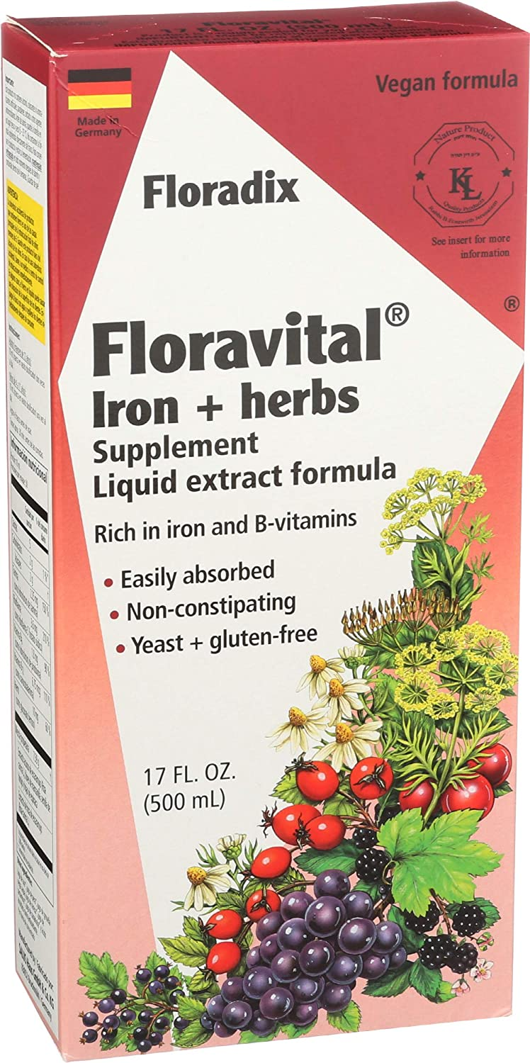 Floravital Liquid Iron Supplement + Herbs 17 Ounce LARGE - Vegan, Non GMO & Gluten Free - Non Constipating, Yeast Free for Men & Women: Health & Personal Care