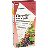 Floravital Liquid Iron Supplement + Herbs 17 Ounce LARGE - Vegan, Non GMO & Gluten Free - Non Constipating, Yeast Free…
