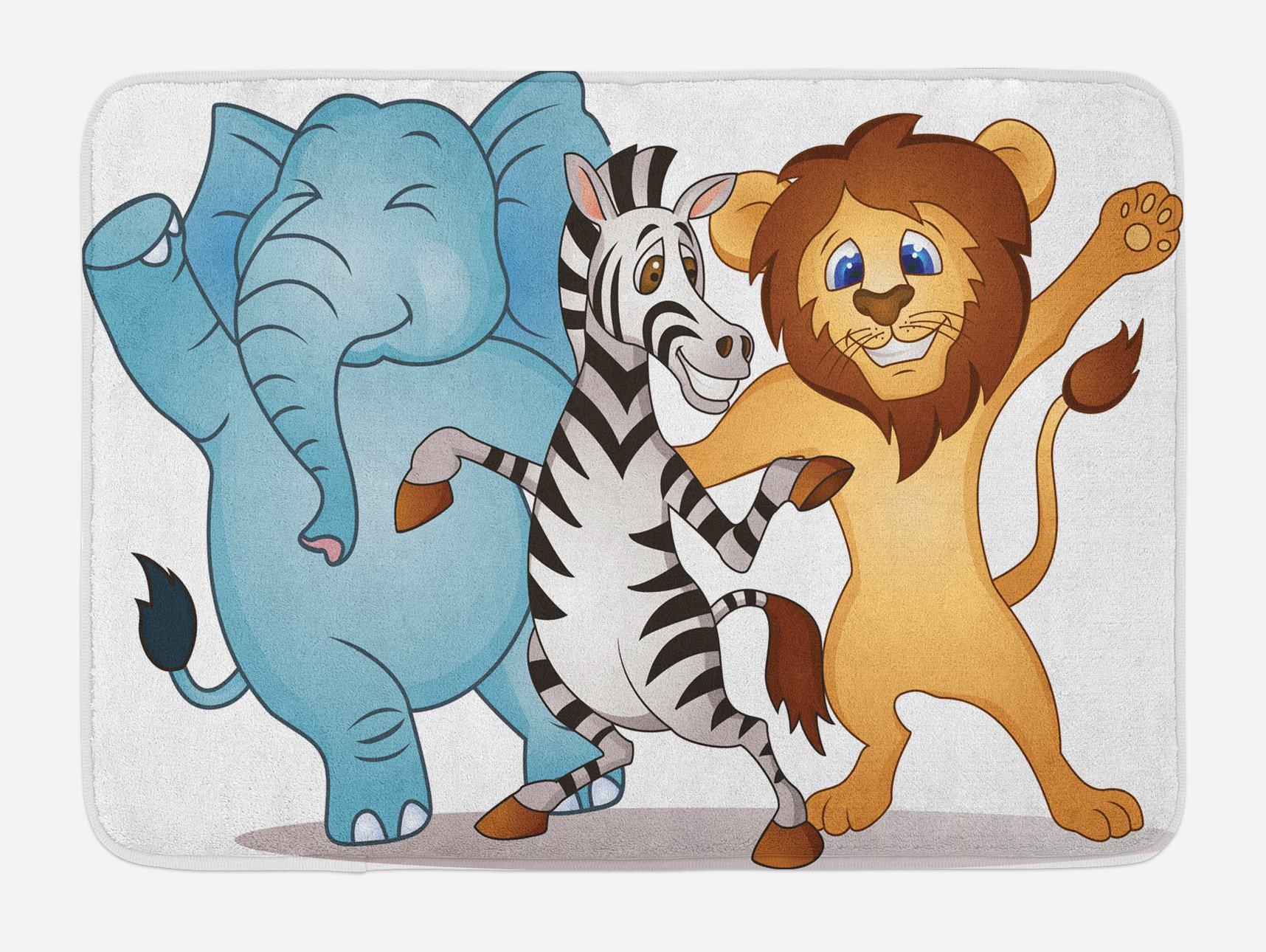Lunarable Animal Bath Mat, Cute Dancing African Zebra Lion Elephant Party in Savannah Safari Cartoon Print, Plush Bathroom Decor Mat with Non Slip Backing, 29.5 W X 17.5 W Inches, Multicolor