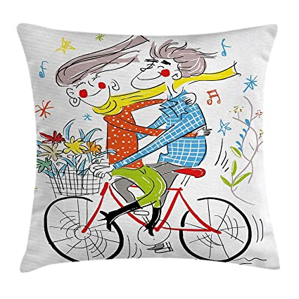 AHENANY Colorful Throw Pillow Cushion Cover, Boy and Girl on ...