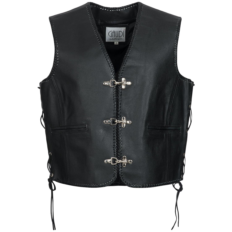 Gaudi-Leathers Men's Leather Waistcoat Motorcycle Motorbike Chopper Biker Vest