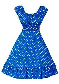 f137e079173 Cool Hot Fashions Royal Blue   White Polka Dot Peasant Dress On Off  Shoulder Pinup Vintage