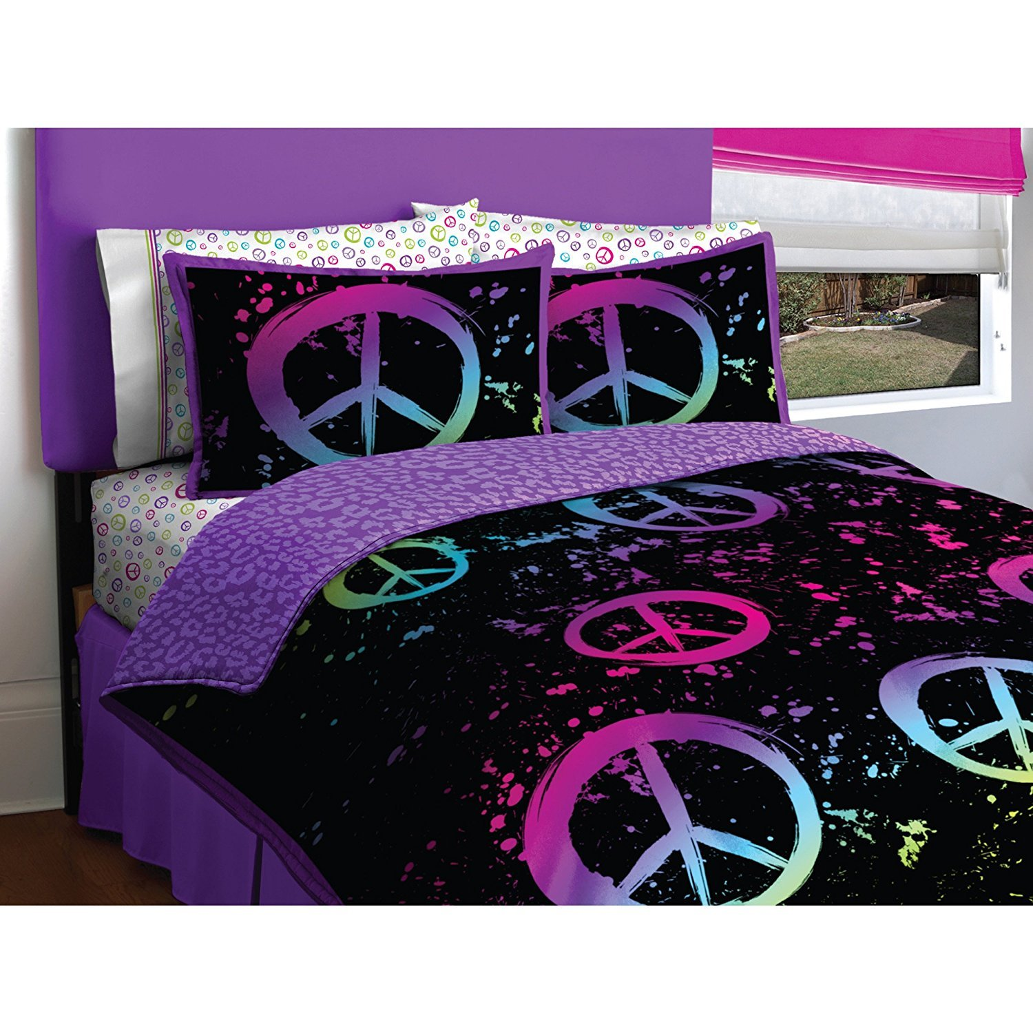 Black Purple Pink Peace Sign Twin Girls Comforter Bed in a Bag Set by Morgan Teen SYNCHKG019988