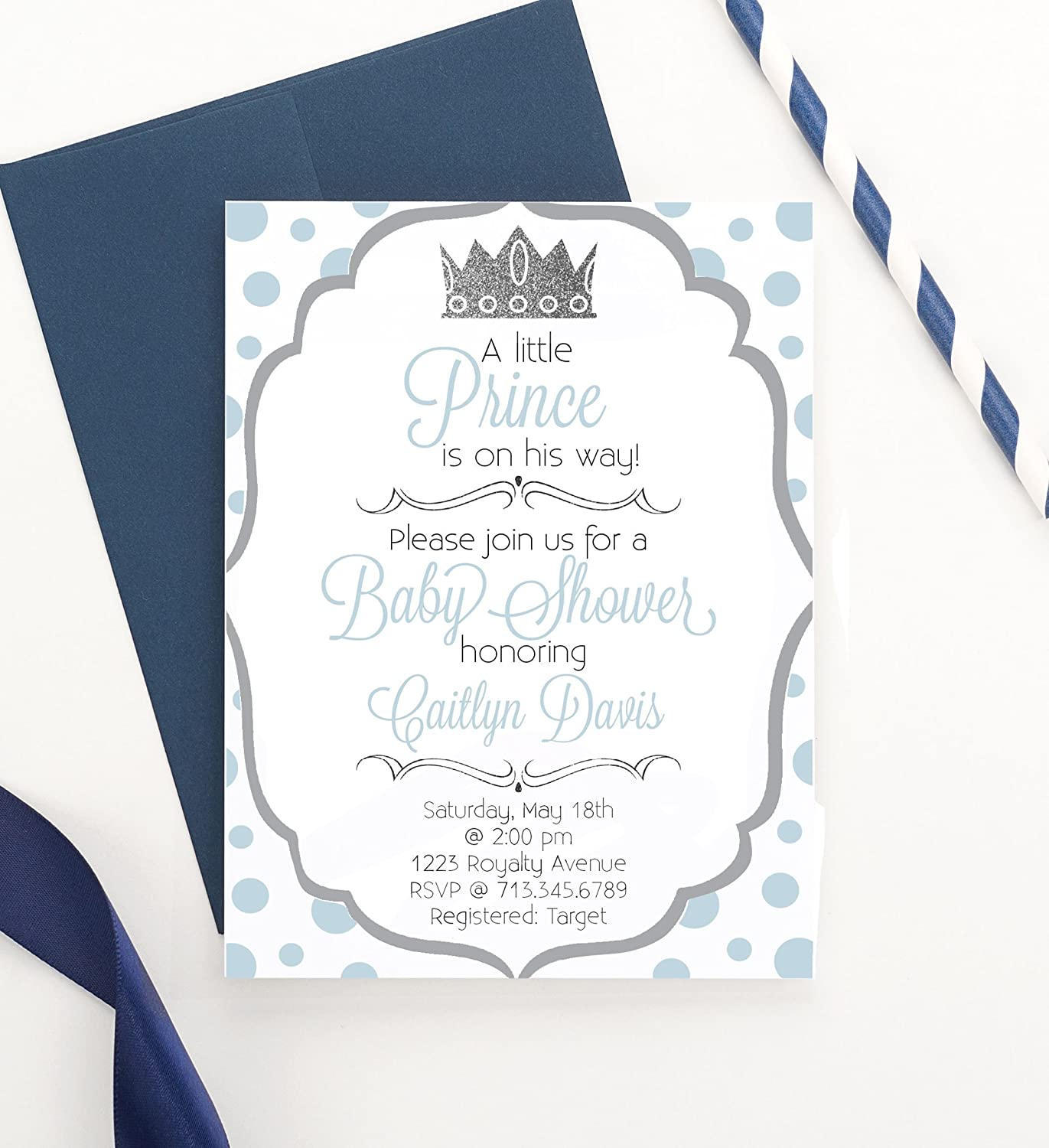 Little Prince Baby Shower Invitations, Prince Baby Shower Invitations, Royal  Prince Baby Shower Invitations, Modern Baby Shower Invitation, Your choice  of ...
