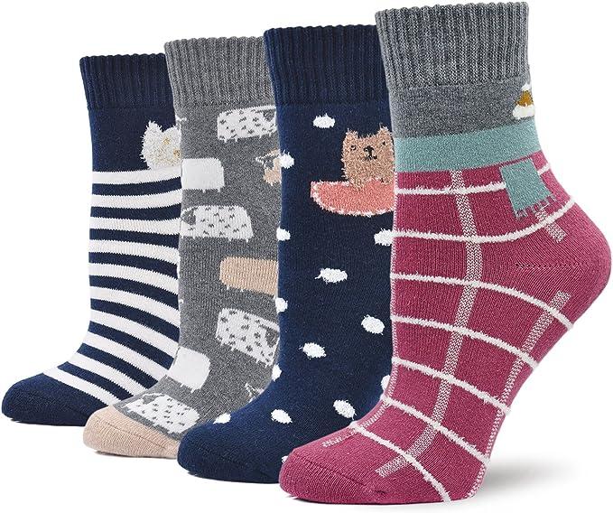 Calcetines Termicos Mujer Calcetines Invierno Coloridos, Mujer Calientes Calcetines de Algodon Gruesa, Mujer Calcetines de Animales Lindos, 4 pares: Amazon.es: Ropa y accesorios