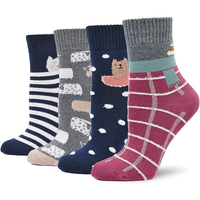 Calcetines Termicos Mujer Calcetines Invierno Coloridos, Mujer Calientes Calcetines de Algodon Gruesa, Mujer Calcetines de Animales Lindos, ...