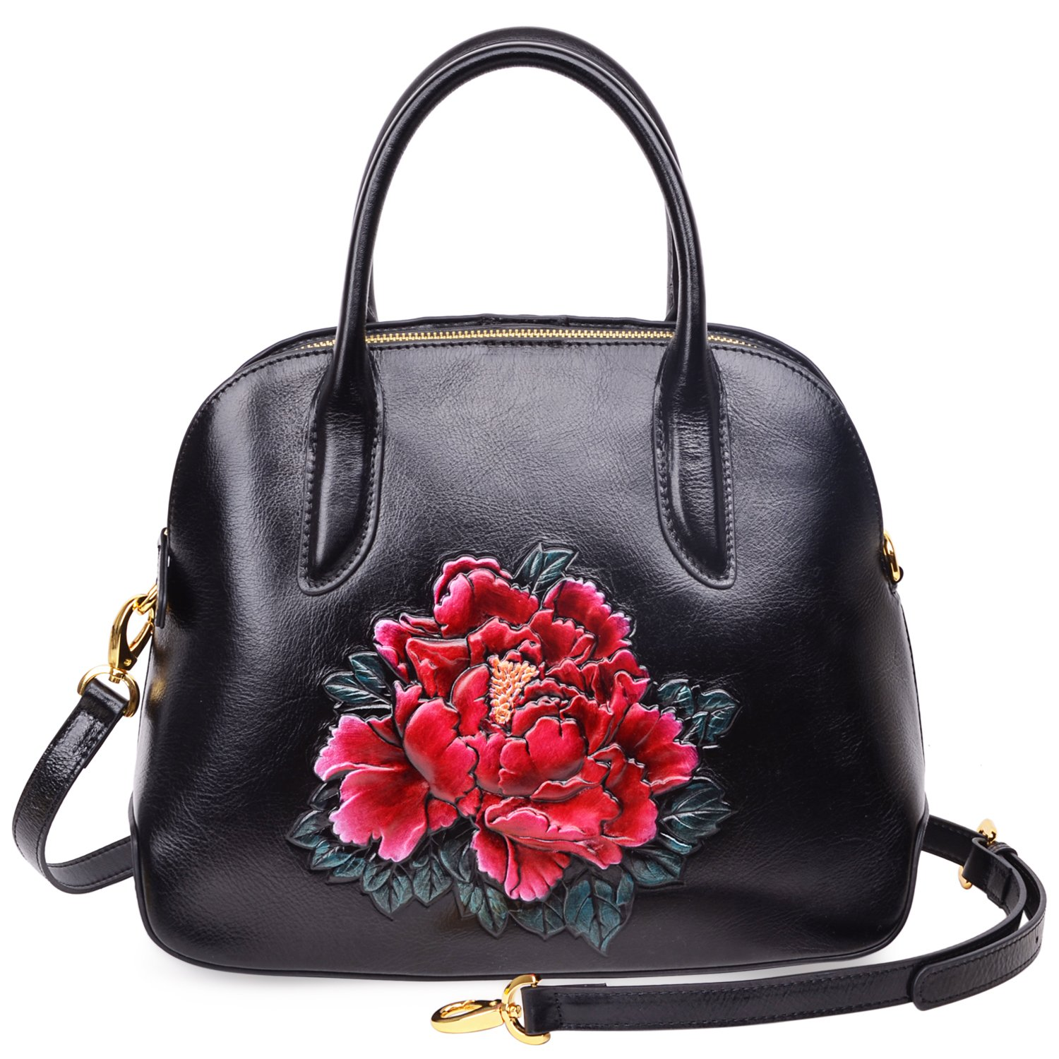PIJUSHI Genuine Leather Tote Satchel Handbags Floral Top Handle Bag for Women 33091(One Size, Black/Red)