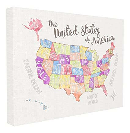 Amazon.com: Stupell Home Décor United States US Map Water ... on world map not colored, united states map not colored, map of europe not colored,
