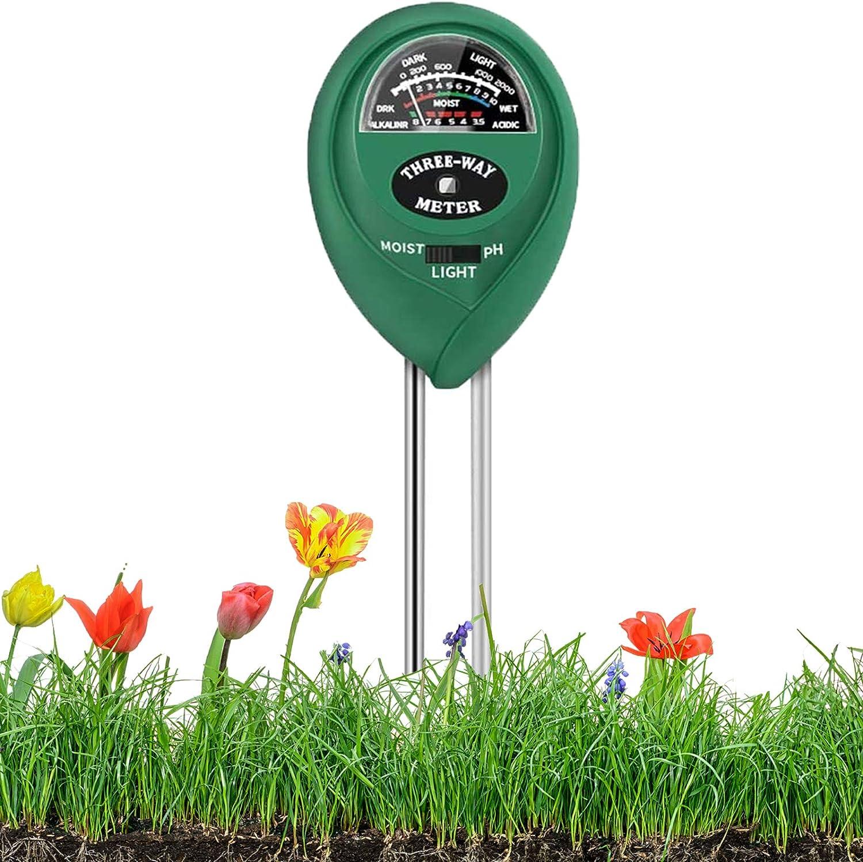 Soil Test Kit, 3-in-1 Soil Tester with Moisture, Light and pH Test for Garden, Lawn, Farm, Indoor & Ourdoor, Soil Moisture Meter & Soil pH Meter, Soil Water Monitor, Test Kit for Garden Plants