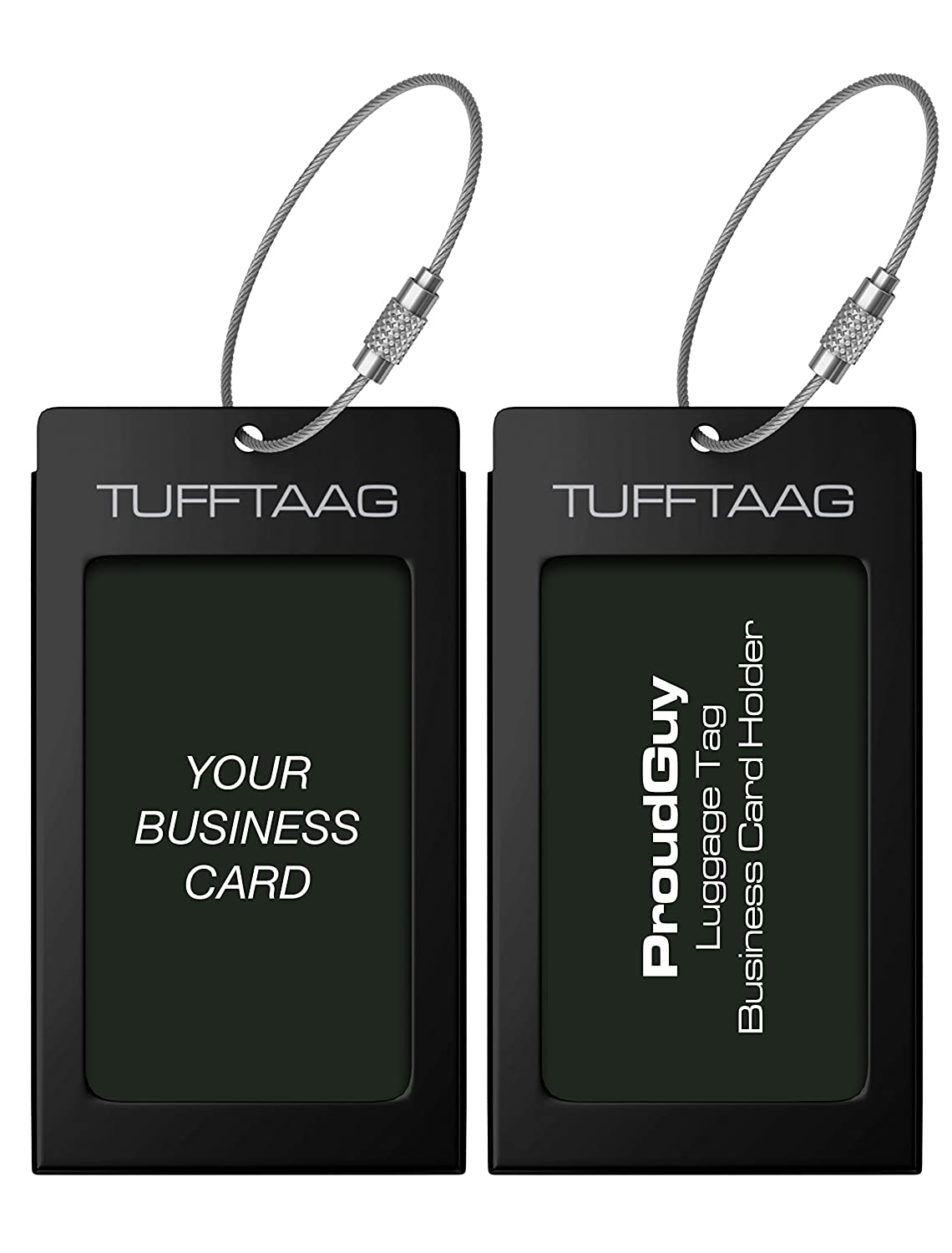 Luggage Tags Business Card Holder TUFFTAAG PAIR Travel ID Bag Tag - Deep Amber ProudGuy LTAG-damber2