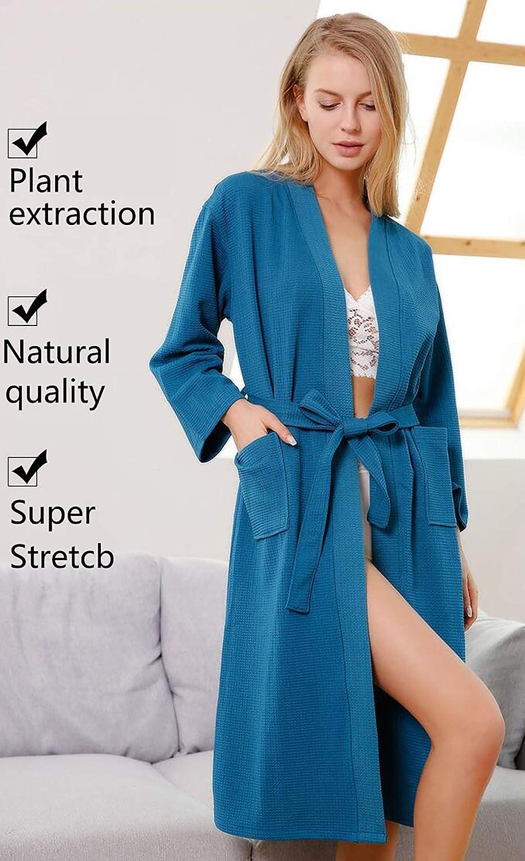 JHKJ Batas Baño para Mujer Vestido Gofres Bata Dormir Cuello Kimono Desgaste Largo, para All Seasons SPA Hotel Pool Sleepwear S-XL,Skyblue,S: Amazon.es: ...