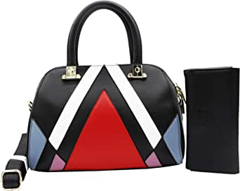 حقيبة للنساء-احمر واسود - حقائب صلبة