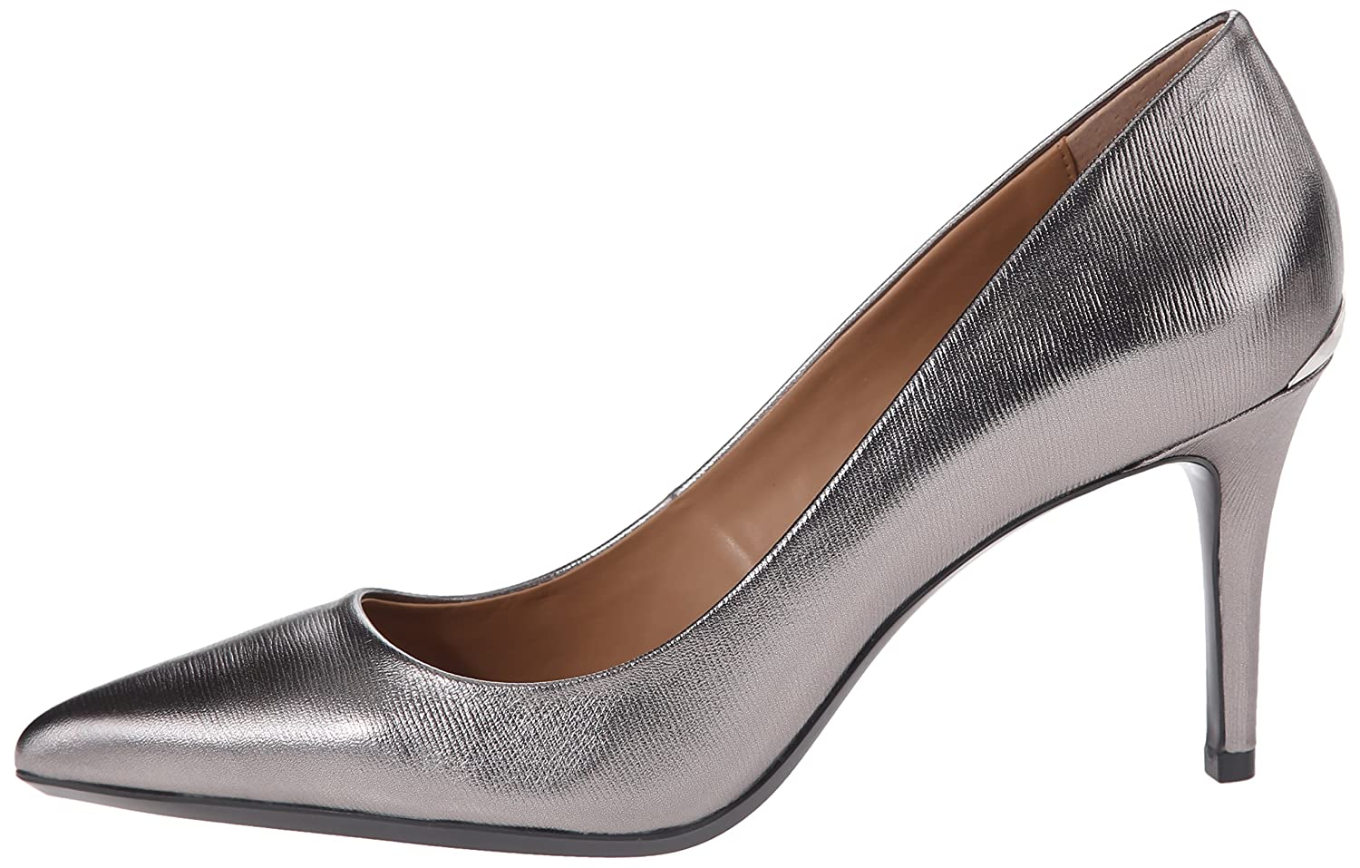 Calvin Klein Women's Gayle Pump B01335KC06 6.5 B(M) US|Anthracite Metallic Birch Leather