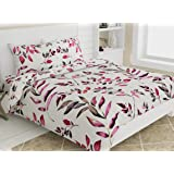 haus & kinder Divine Floral Art 100% Cotton Double Bedsheet with 2 Pillow Covers, 186 TC (Pink)