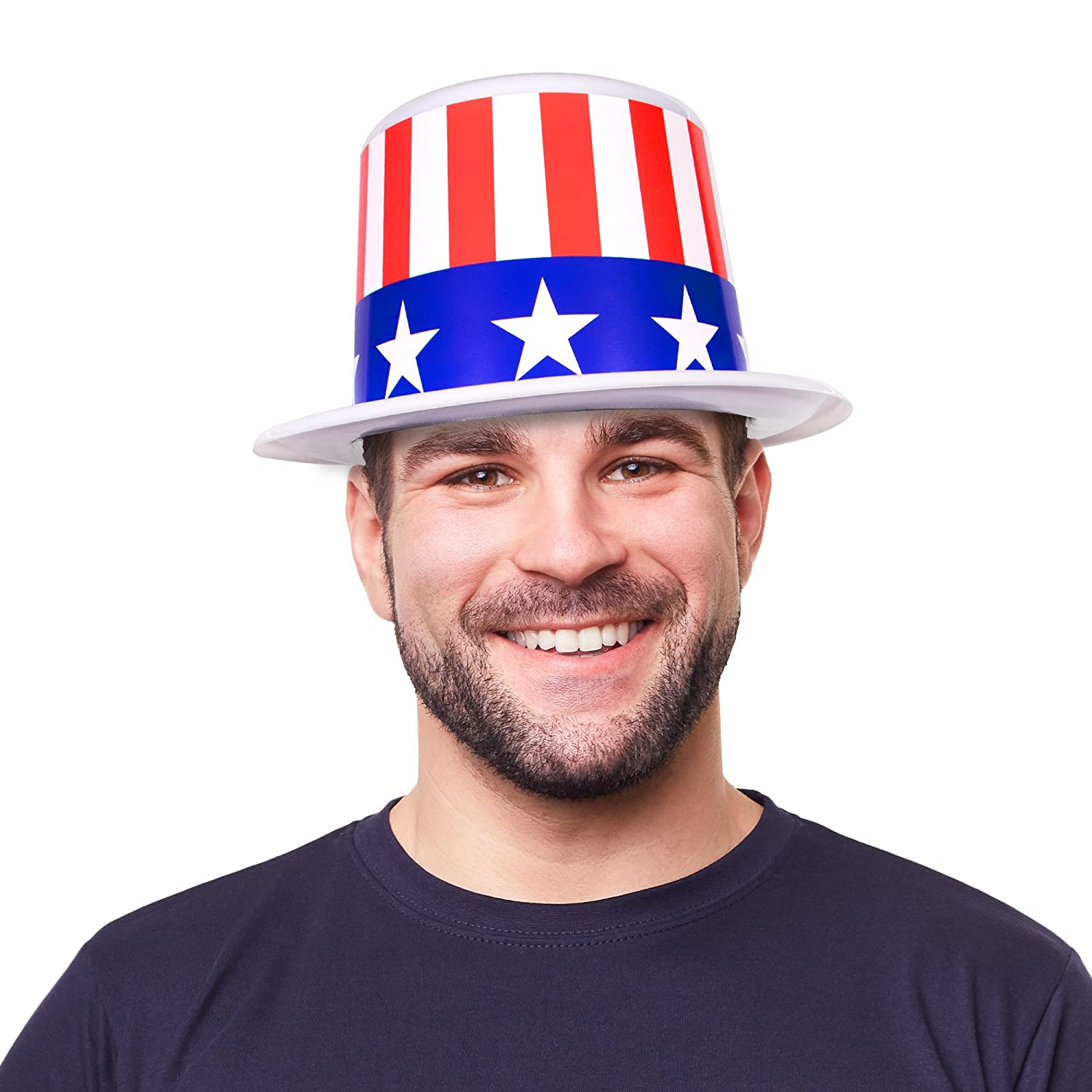 Patriotic July 4th USA Top Hats for Adults and Kids Windy City Novelties 12 Pack