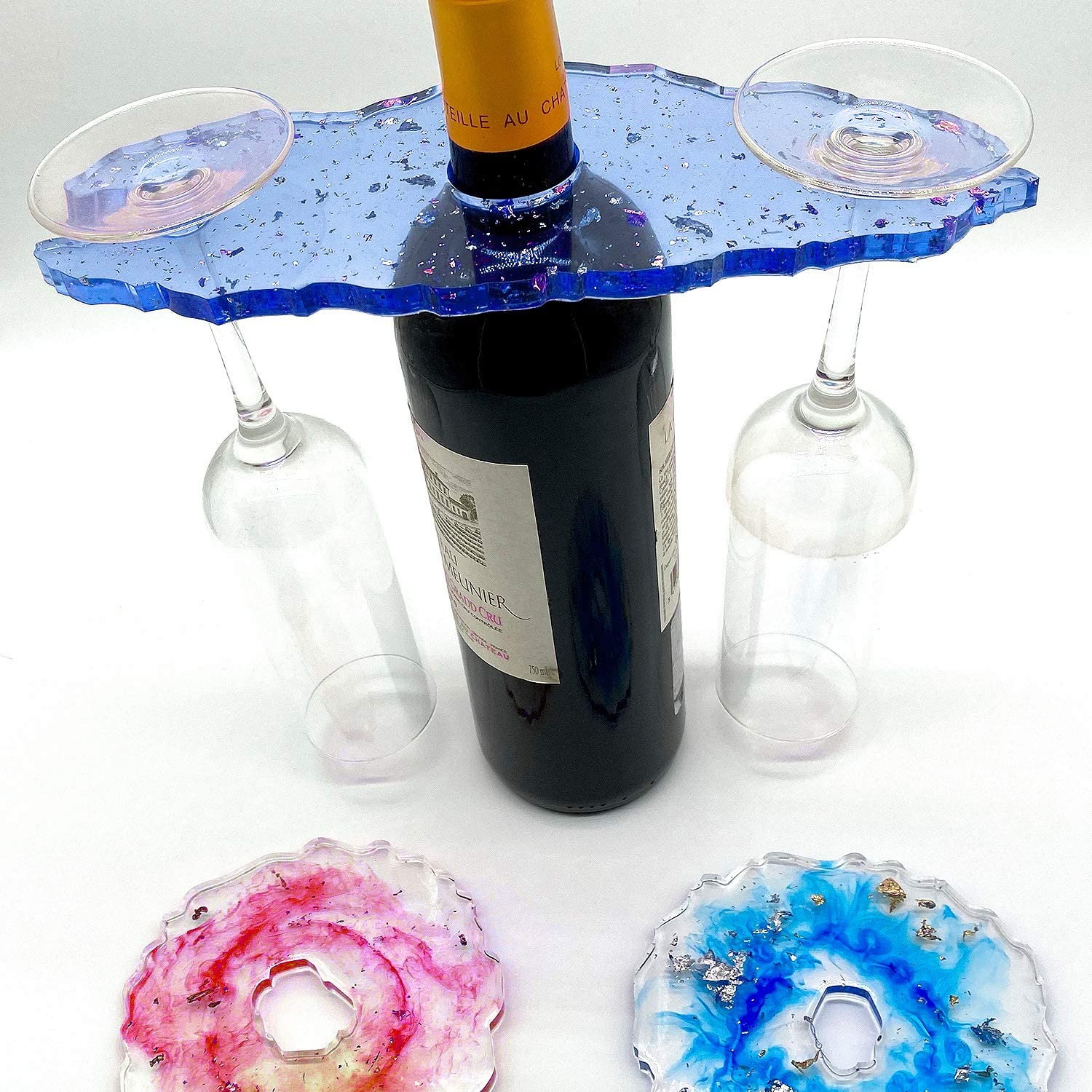 SAVITA Wine Glass Holder Epoxy Resin Mold DIY Making Wine Rack Mold with 2Pcs Coasters Molds and 12 Boxes Shining Glitters for Home Decoration