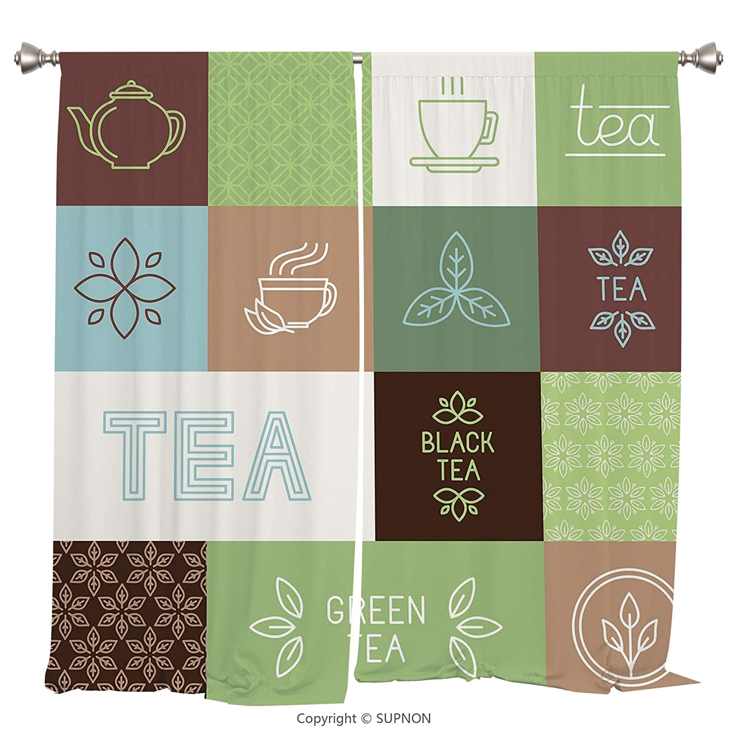 Rod Pocket Curtain Panel Thermal Insulated Blackout Curtains for Bedroom Living Room Dorm Kitchen Cafe/2 Curtain Panels/84 x 84 Inch/Tea Party,Checkered Tea Themed Images Symbols Geometrical Soft Colo