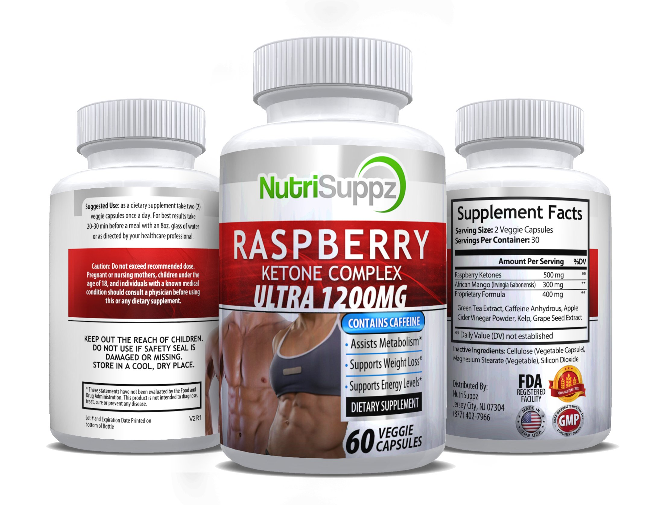 100% Pure Raspberry Ketone COMPLEX ULTRA 1200mg, Weight Loss Pills, Thermogenic Effect - Green Tea Extract, African Mango, Grape Seed Extract - 60 Veggie Capsules by NutriSuppz