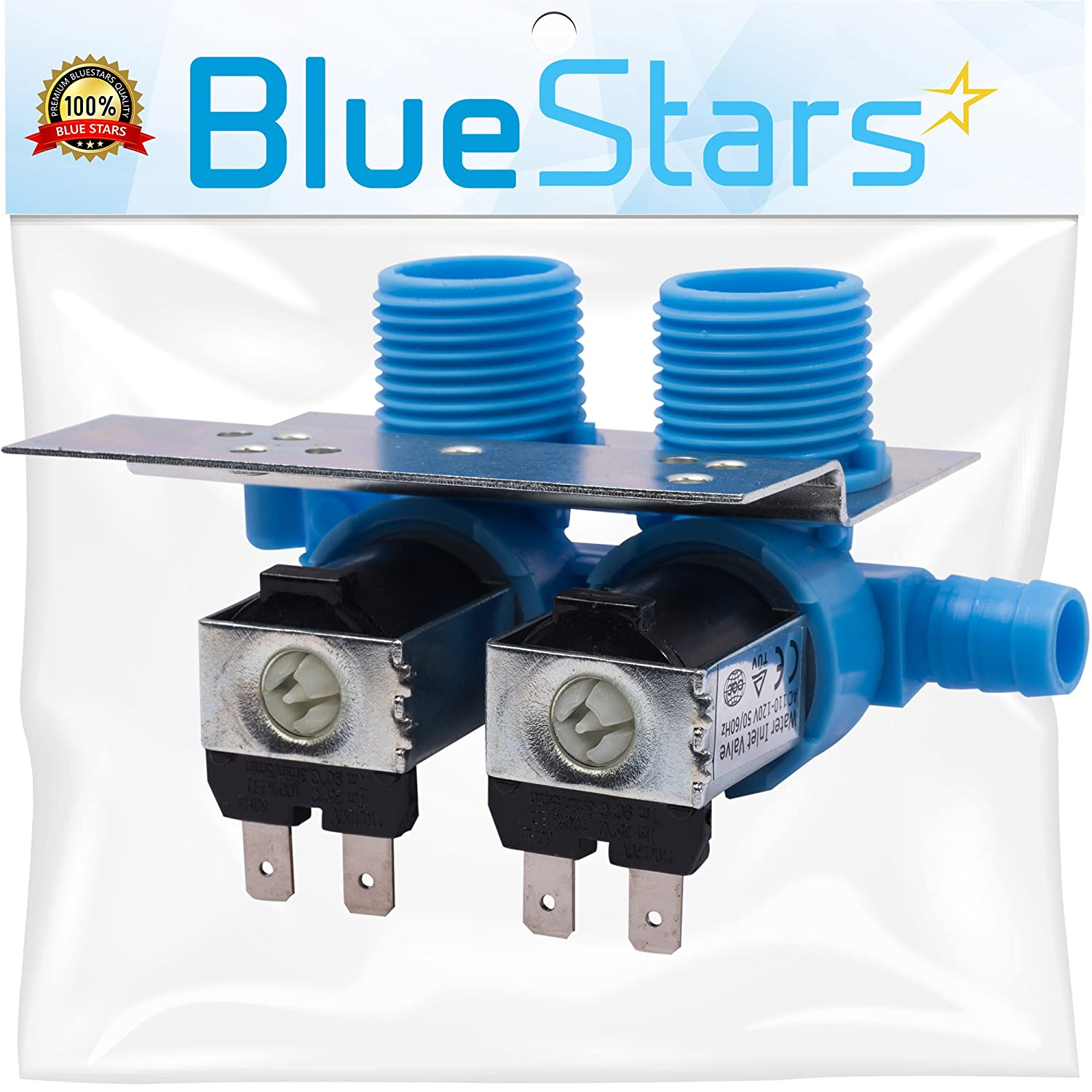 Ultra Durable 285805 Washer Water Inlet Valve with Mounting Bracket by Blue Stars - Exact Fit for Whirlpool Kenmore Kitchenaid Washer - Replaces 292197 3349451 3354565