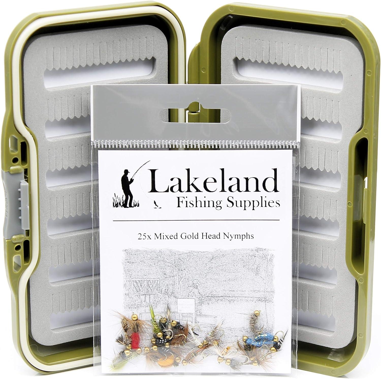 25 50 100 o 204 x anzuelos de Cabeza de Oro Mixto para Pesca de Trucha 10 Lakeland Fishing Supplies Caja de Moscas Resistente al Agua