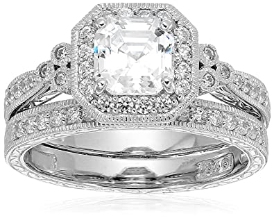 platinum plated sterling silver swarovski zirconia asscher cut antique ring set size 5 - Wedding Rings Amazon