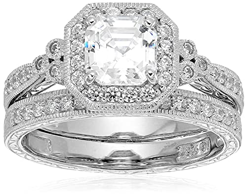 2c31e087253a5 Platinum or Gold Plated Sterling Silver Swarovski Zirconia Antique Ring Set